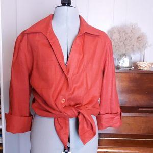 Vintage button down lagonlook rust linen t…